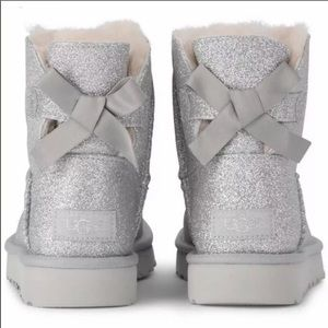 UGG Shoes - NEW UGG MINI BAILEY BOW BOOTS SILVER GLITTER  7